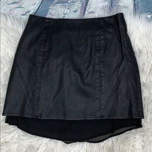 UO Silence and Noise Black Faux Leather Skirt 6